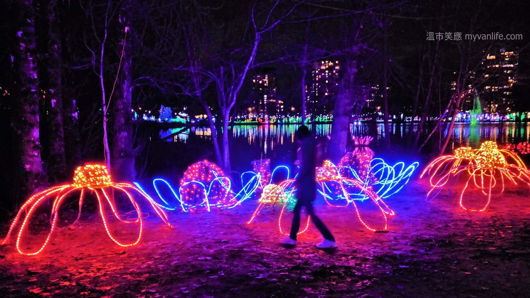 溫哥華旅遊 夜色中的1.2公里環湖聖誕燈會